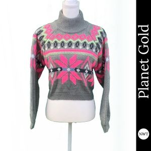 NWT Planet Gold Crop Sweater - Juniors' Size